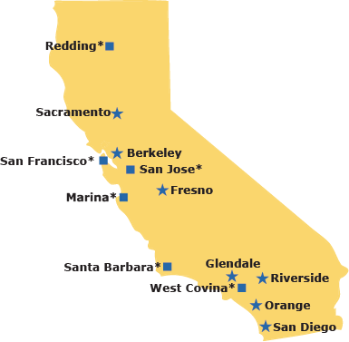 Map of California showing service centers.
